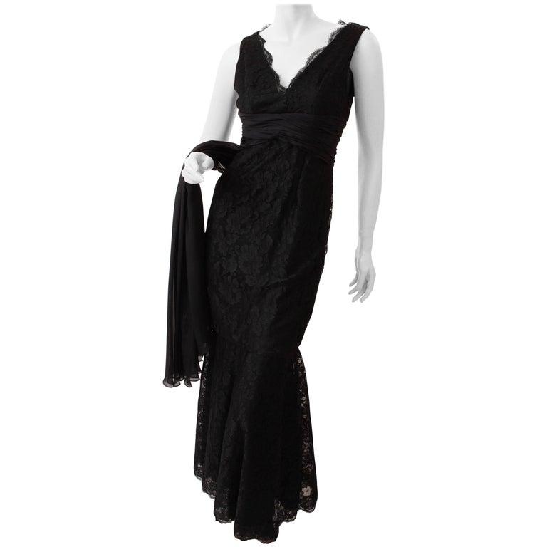 Pamella Roland Evening Gown Black Lace Silk Panels Mermaid Hem Sz 6 For Sale