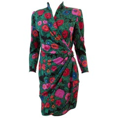 Ungaro Parallele Silk Dress Bold Florals Trapunto High Collar Faux Wrap Sz S/XS