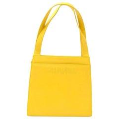 Chanel Yellow Lambskin Leather Hand Bag