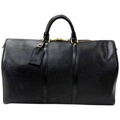 Louis Vuitton Keepall 50 Black Epi Leather Travel Bag