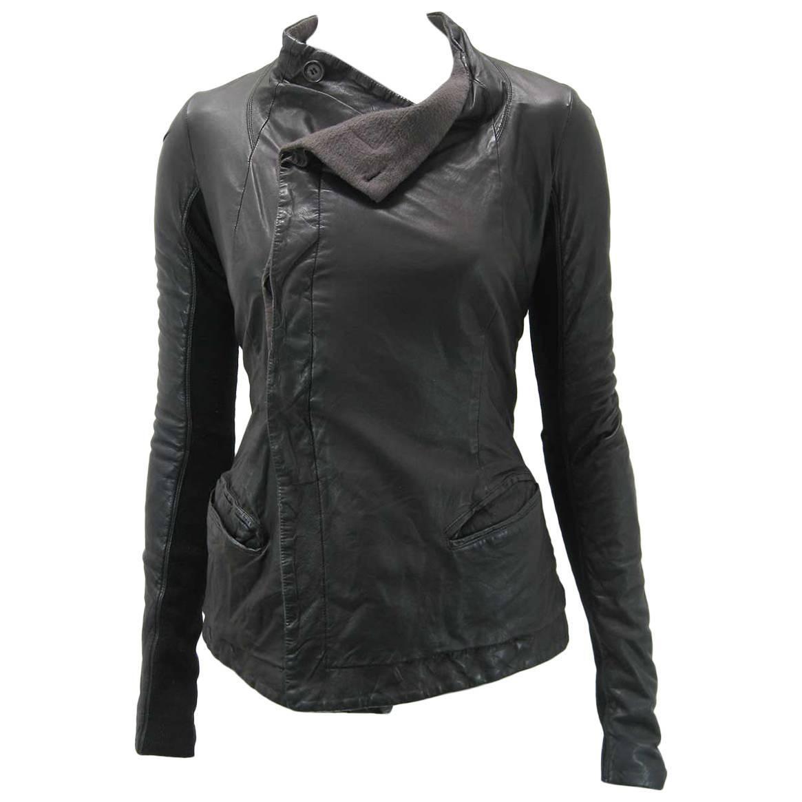 Rick Owens Black Leather Asymmetrical Biker Jacket