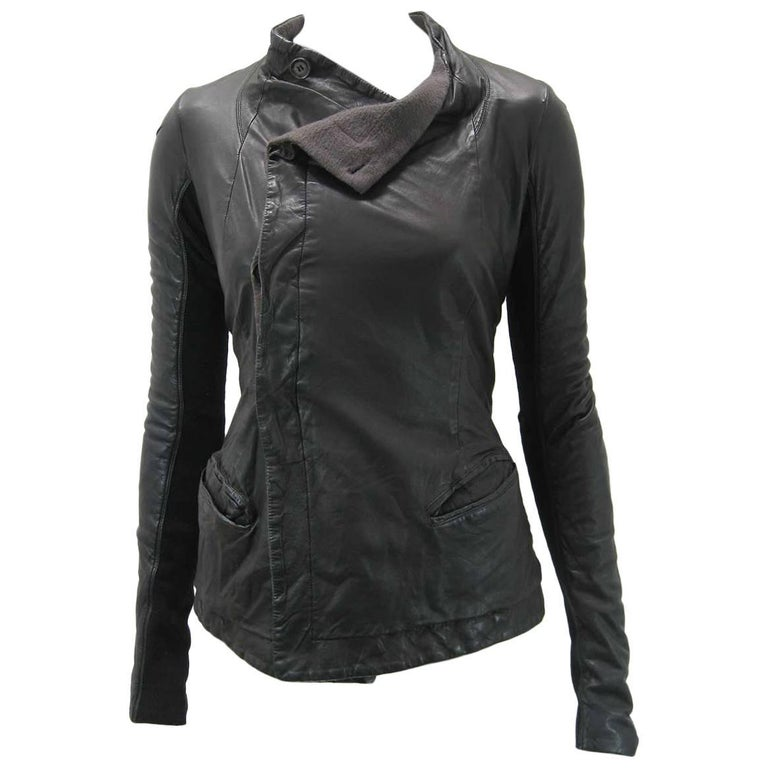 Rick Owens Black Leather Asymmetrical Biker Jacket For Sale