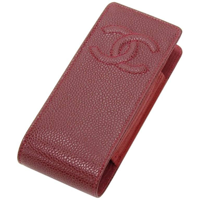 Chanel Burgundy Caviar Leather Phone/Cigarette Case For Sale