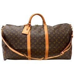 Vintage Louis Vuitton Keepall 60 Bandouliere Monogram Canvas Duffel Travel Bag +