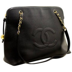 CHANEL Caviar Jumbo Large Chain Shoulder Bag Black Zip Leather CC