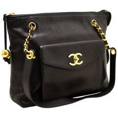 CHANEL Caviar Large Chain Shoulder Bag Black Leather Gold Zip