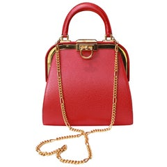 2000s Christian Dior Paris small red leather evening bag