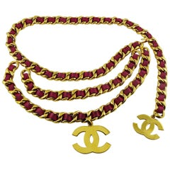 Chanel Vintage 1993 Iconic Chain and Fuschia Leather Belt with Large CC Logos