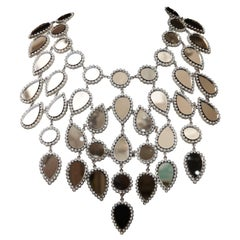 Nina Ricci Haute Couture breastplate necklace in Swarovski crystals and mirror