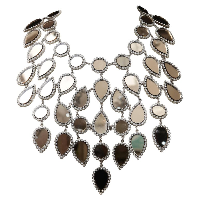 Nina Ricci Haute Couture breastplate necklace in Swarovski crystals and mirror For Sale