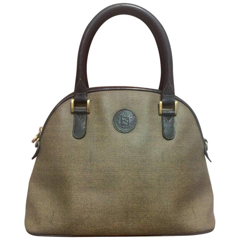 5413104a88fa ... Vintage FENDI classic black and grey pecan vertical stripe bolide shape  handbag.