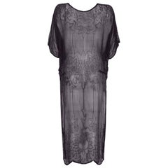 1920s Black Silk Chiffon Tunic Style Flapper Dress With Beaded Embellishment