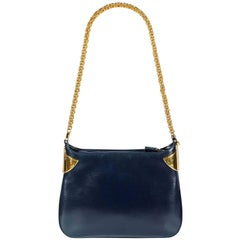 1980s Gucci Navy Blue Leather Gold Chain Shoulder Bag