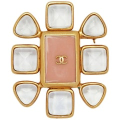 1990s Chanel Gold Plated Gripoix Glass and Rose Enamel CC Brooch