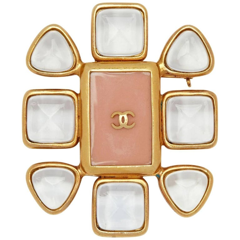 1990s Chanel Gold Plated Gripoix Glass and Rose Enamel CC Brooch For Sale