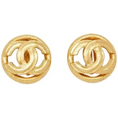 Chanel Gold Double CC Motif Earrings, 1990s