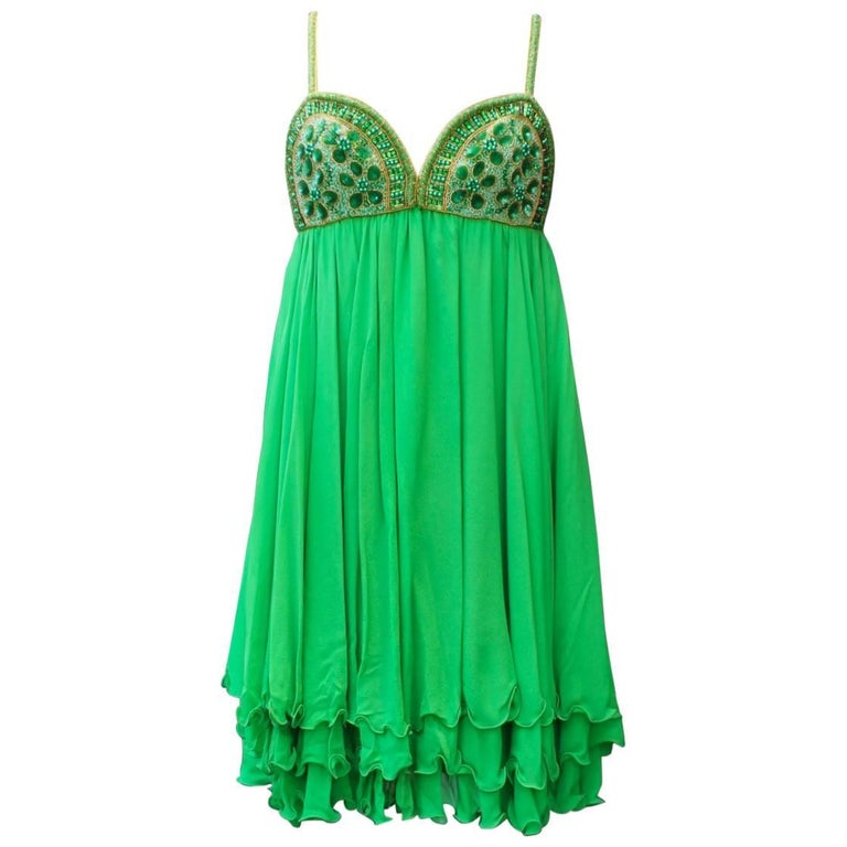 Serge Lepage Haute Couture embroidered green chiffon short dress, 1980s
