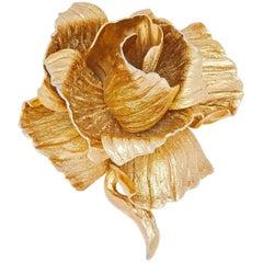1960s Christian Dior Gold Sculpted Rose Brooch - Henkel & Grosse Original Design