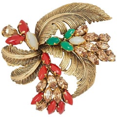 1960s Christian Dior Feather Spray Design Brooch With Gemstone Detail