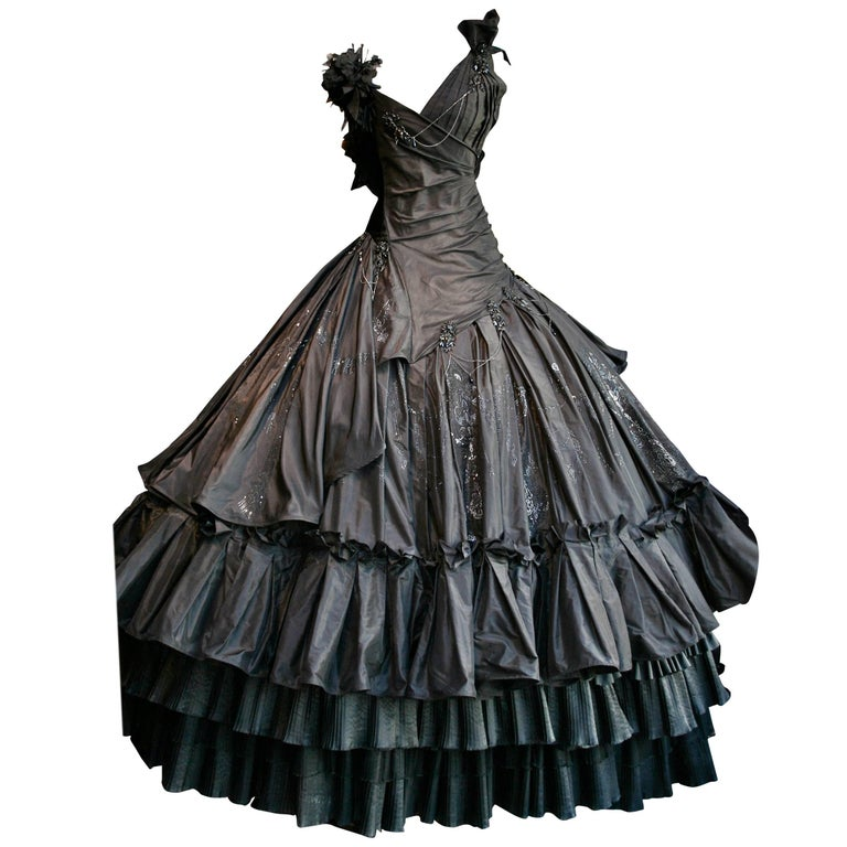 Torrente Haute Couture black taffeta jewel dress For Sale