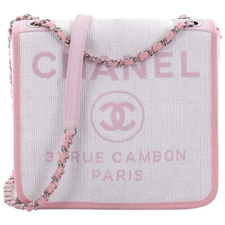 cb5b407493a0 Chanel Deauville Messenger Bag Canvas Small at 1stdibs