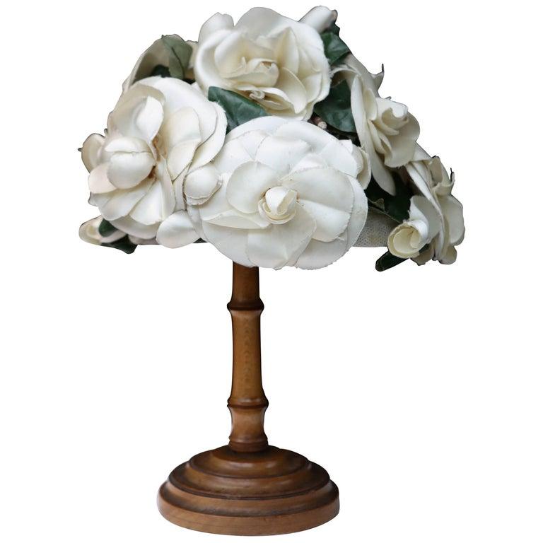 1950s Pierre Balmain fashion show flowery hat For Sale