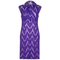 1960s Jo Giovanni Italian Boutique Purple Knit Dress