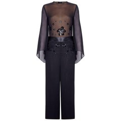 Vintage 1970s Black Chiffon Jumpsuit With Oversized Sequin Embellishment
