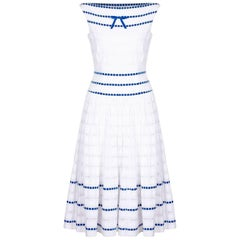 1950s Italian Couture White Broderie Anglaise Dress with Blue Ribbon Work