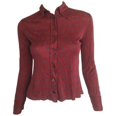 Gucci horse-bit print blouse