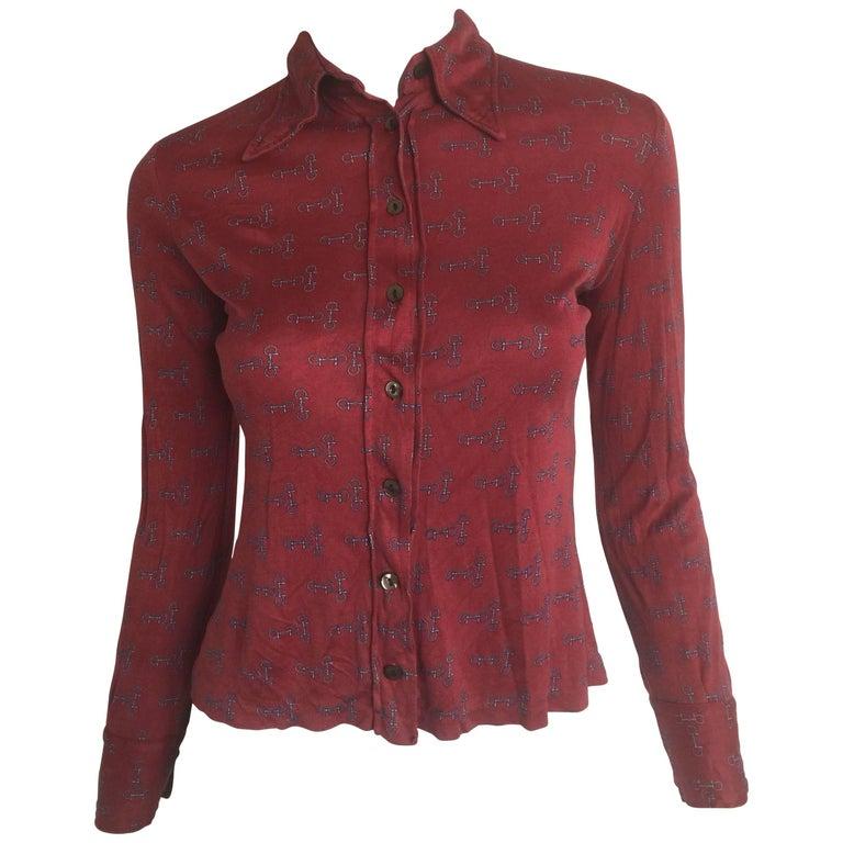Gucci horse-bit print blouse   For Sale