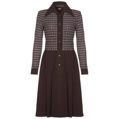 Pisanti Chocolate Brown Dress with Wide Lapel Detail and Lame Bodice, 1970s