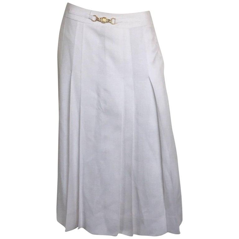 Celine white linen pleated mini skirt
