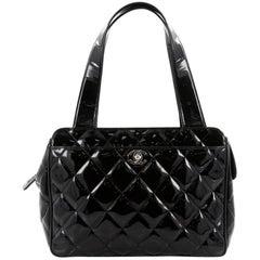 Chanel Vintage Slit Pocket Shoulder Bag Quilted Patent Medium