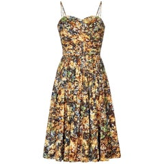 Vintage 1950s Printed Floral Couture Dress With Ribbon Shoulder Straps