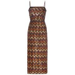 "1970s Lilli Diamond ""Studio 54"" Sequin Cocktail Dress"