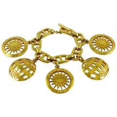 Celine Vintage Gold Toned Charms Bracelet