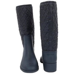 CHANEL Mid-Boots in Blue Padded Leather and Plastic Size 39EU