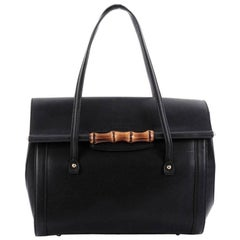 Gucci New Bullet Bamboo Top Handle Bag Leather Large
