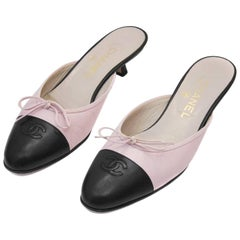 1990s Chanel Pink and Black Mules