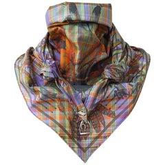 Hermes Silk Scarf Pointu Triangle Pani La Shar Pawnee Madras With Golden Charms