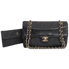 Collector CHANEL 'Mademoiselle' Shoulder Bag in Black Leather and Gray Jersey