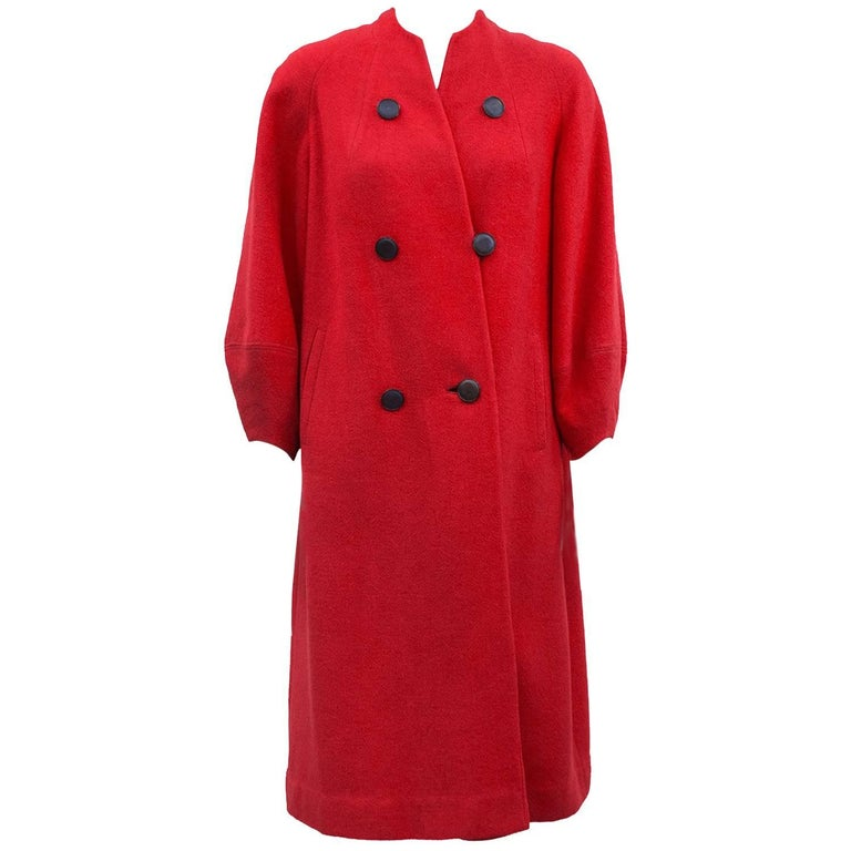 1950s Red Wool Faux Double Breasted Coat