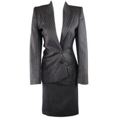 COPPERWHEAT BLUNDELL 12 Gray Pinstripe Wool Asymmetrical Peak Lapel Skirt Suit