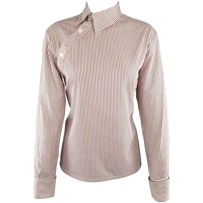 COPPERWHEAT BLUNDELL 12 Burgundy Stripe Cotton Asymmetrical French Cuff Blouse