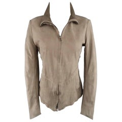 ISAAC SELLAM Size 4 Taupe Distressed Nubuck Leather Staples Jacket