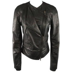 HAIDER ACKERMANN Size S Black Shiny Leather Layered Zip Biker Jacket