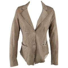 TRANSIT PAR-SUCK Size M Taupe Distressed Dyed Leather Notch Lapel Jacket