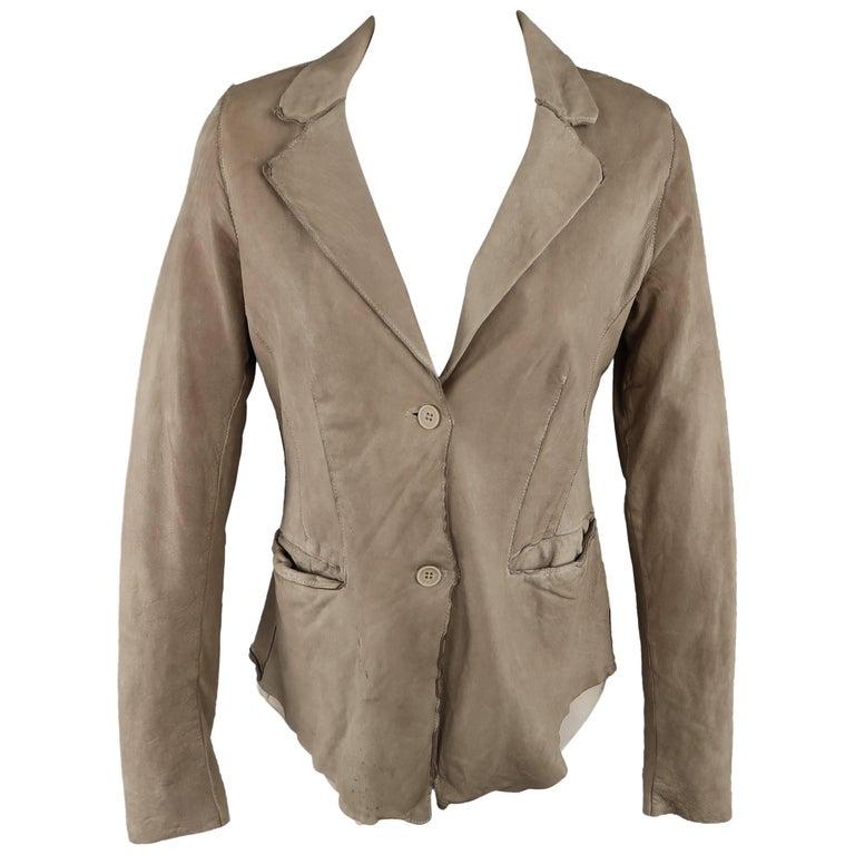 TRANSIT PAR-SUCK Size M Taupe Distressed Dyed Leather Notch Lapel Jacket For Sale