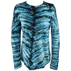 PROENZA SCHOULER Size XS Blue & Black Tie Dye Cotton Pullover